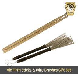 Vic Firth sticks and wire brushes gift set.